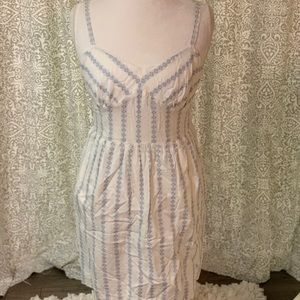 J. Crew white dress with blue detailing, size 12